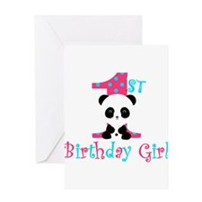 1st Birthday Girl Panda Bear Greeting Cards