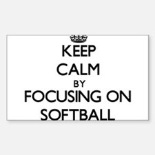 Keep Calm by focusing on Softball Decal