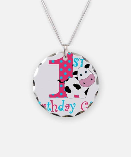 1st Birthday Girl Cow Necklace