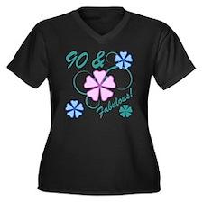 Fabulous 90t Women's Plus Size V-Neck Dark T-Shirt