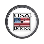 USA Rocks American Flag Wall Clock