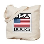 USA Rocks American Flag Tote Bag