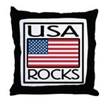 USA Rocks American Flag Throw Pillow