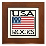 USA Rocks American Flag Framed Tile