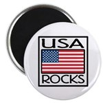 USA Rocks American Flag Magnet