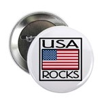 USA Rocks American Flag Button