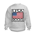USA Rocks American Flag Kids Sweatshirt
