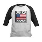 USA Rocks American Flag Kids Baseball Jersey