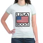 USA Rocks American Flag Jr. Ringer T-Shirt