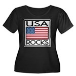 USA Rocks American Flag Women's Plus Size Scoop Ne