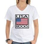 USA Rocks American Flag Women's V-Neck T-Shirt