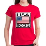 USA Rocks American Flag Women's Dark T-Shirt