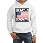 USA Rocks American Flag Hooded Sweatshirt