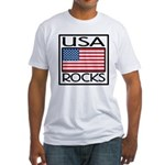 USA Rocks American Flag Fitted T-Shirt