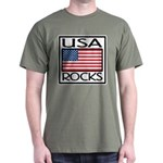 USA Rocks American Flag Dark T-Shirt