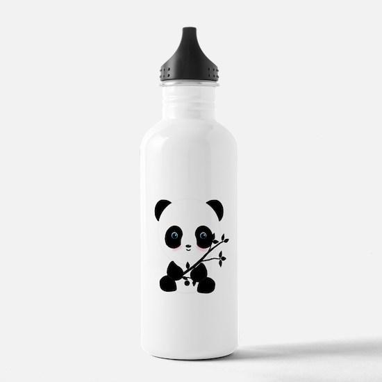 Black and White Panda Bear Water Bottle