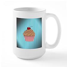 Cupcake on Aged Teal Mugs