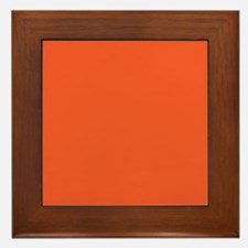 Persimmon Orange Solid Color Framed Tile