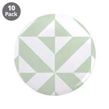 "Sage Green Geometric Deco Cube Pattern 3.5"" Button"
