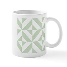 Sage Green Geometric Deco Cube Pattern Mugs