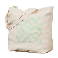 Sage Green Geometric Deco Cube Pattern Tote Bag