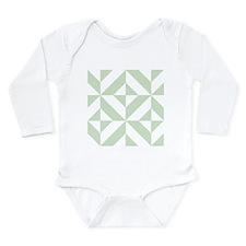 Sage Green Geometric Deco Cube Pattern Body Suit