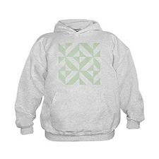 Sage Green Geometric Cube Pattern Hoodie