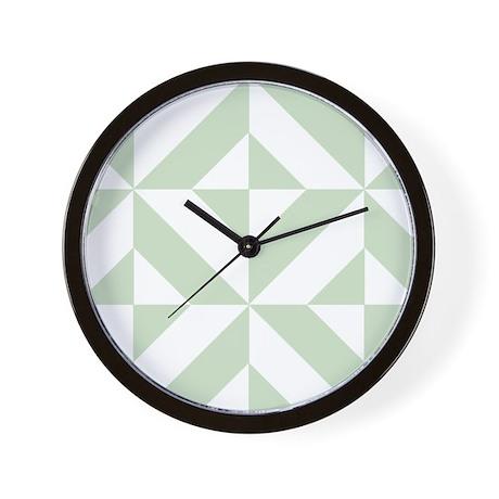 Sage Green Geometric Cube Pattern Wall Clock By Covartdesigns