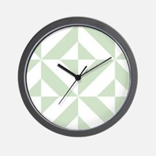 Sage Green Geometric Cube Pattern Wall Clock
