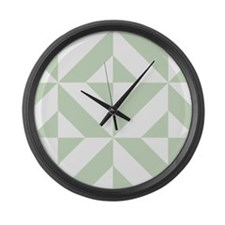Sage Green Geometric Deco Cube Pattern Large Wall