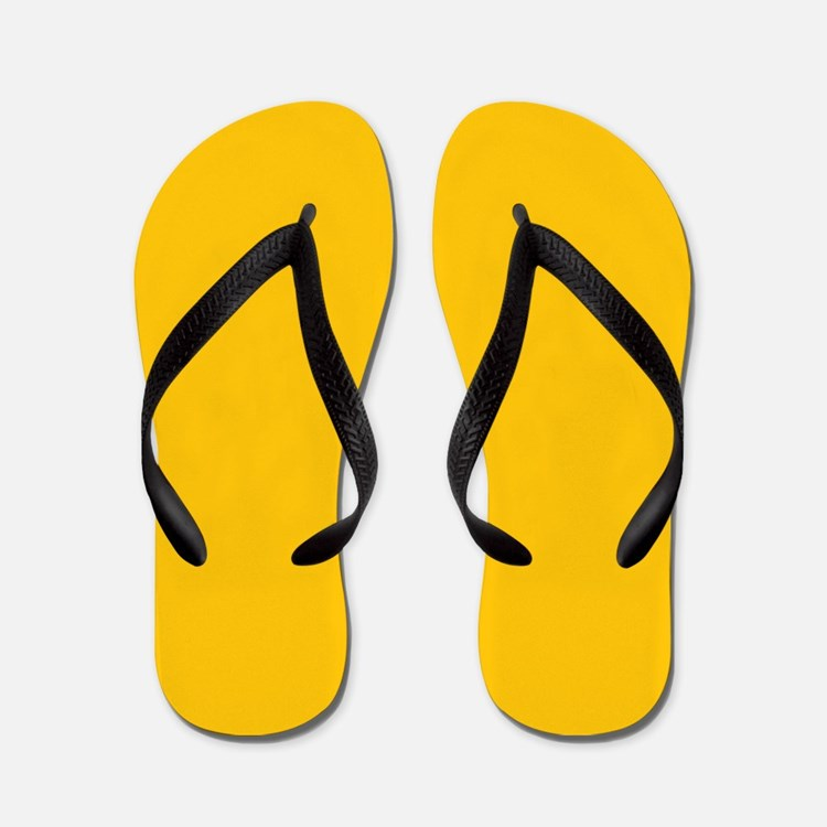 Gold Yellow Solid Color Flip Flops