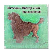 Portuguese Water Dog Brown Wavy Tile Coaster