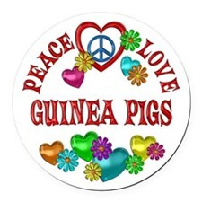 Peace Love Guinea Pigs Round Car Magnet