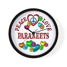 Peace Love Parakeets Wall Clock