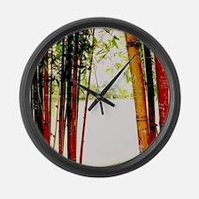 Bamboo window Large Wall Clock