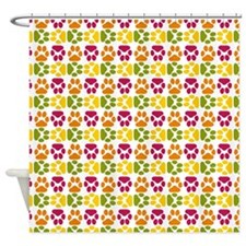 Whimsical Cute Paws Pattern Shower Curtain
