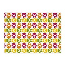 Whimsical Cute Paws Pattern 5'x7'Area Rug