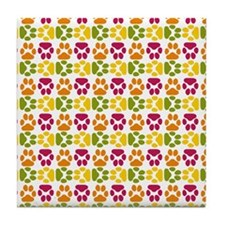 Whimsical Cute Paws Pattern Tile Coaster