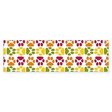 Whimsical Cute Paws Pattern Bumper Sticker