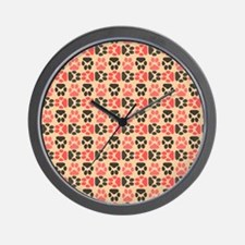 Whimsical Cute Paws Pattern Wall Clock