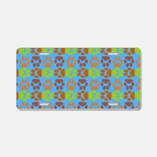 Whimsical Cute Paws Pattern Aluminum License Plate