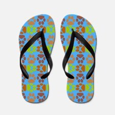 Whimsical Cute Paws Pattern Flip Flops