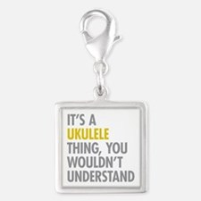 Its A Ukulele Thing Silver Square Charm