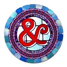 "Stained Glass ""&"" Round Car Magnet"