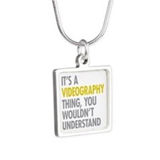 Its A Videography Thing Silver Square Necklace