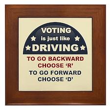 Voting Like Driving Framed Tile