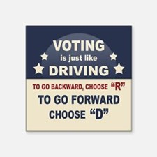 "Voting Like Driving Square Sticker 3"" x 3"""