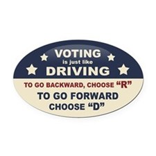 Voting Like Driving Oval Car Magnet