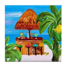 Beach Bar Tiki Hut Tile Coaster