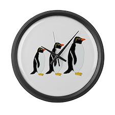 Penguin Parade Large Wall Clock